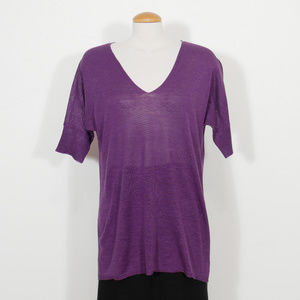 Purple Fine Linen Silk Tunic Sweater Top S